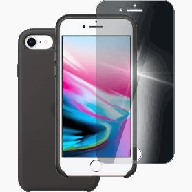 iPhone 8 screenprotector en siliconen hoesje zwart