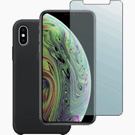 iPhone XS screenprotector + siliconen hoesje zwart