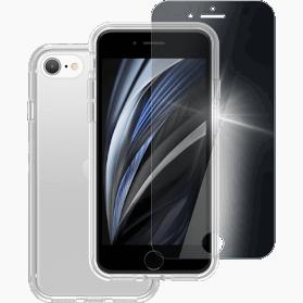 iPhone 7, iPhone 8, iPhone SE 2020 screenprotector + hoesje transparant