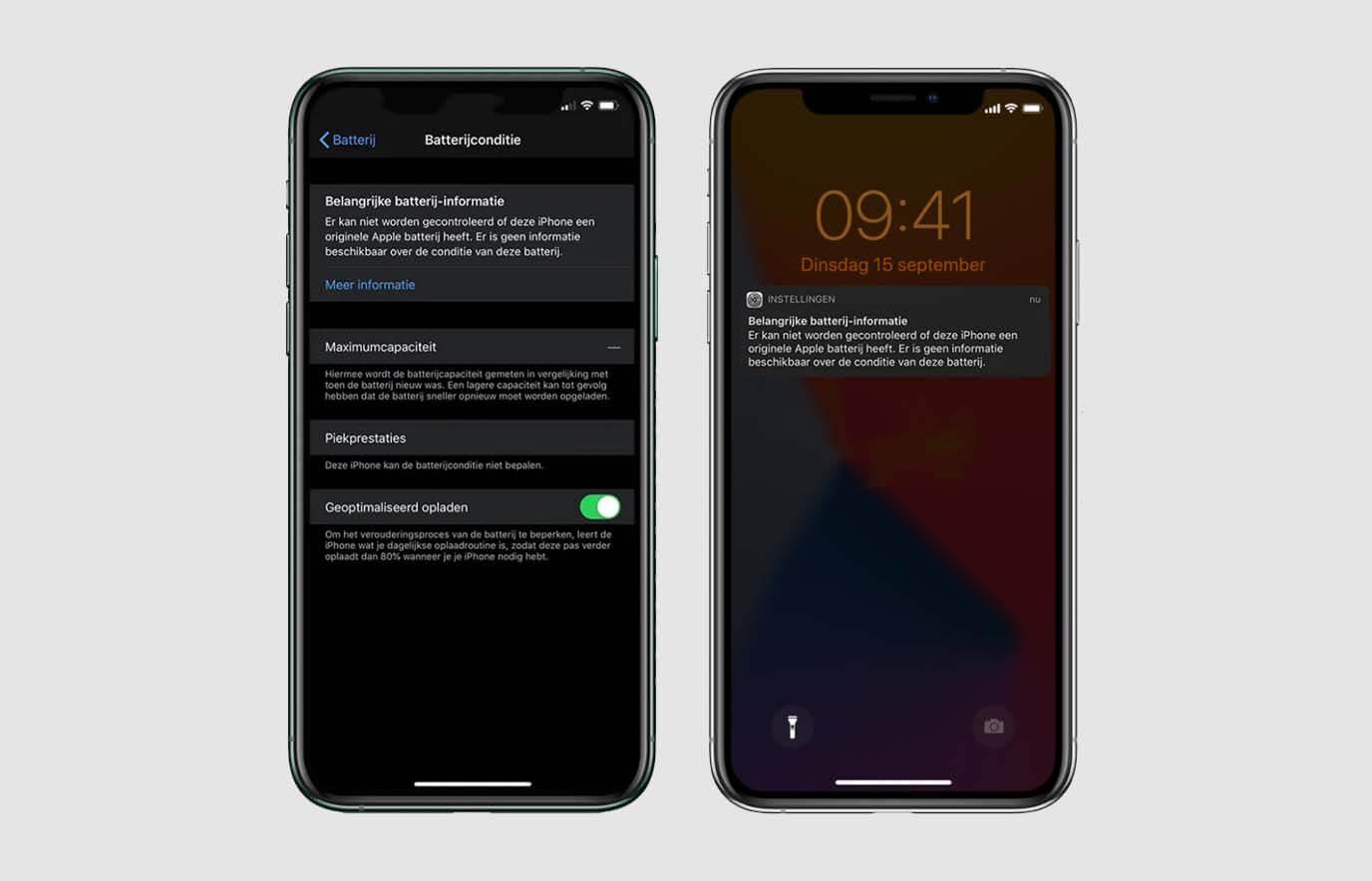 Batterij- of beeldschermmelding bij refurbished iPhone