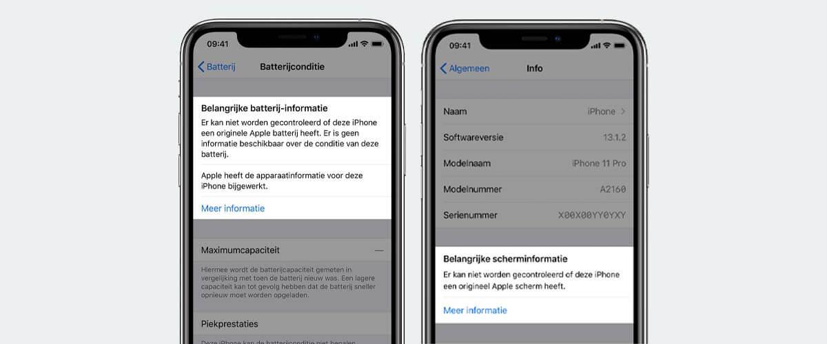 batterij- en beeldscherm melding refurbished iPhone