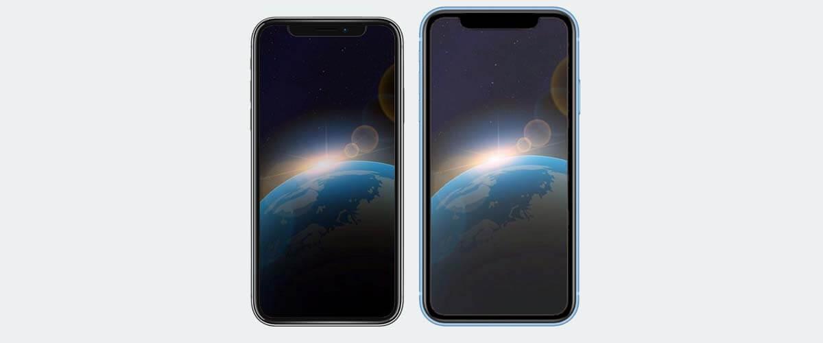 Beeldschermverschil iPhone X en XR en XS
