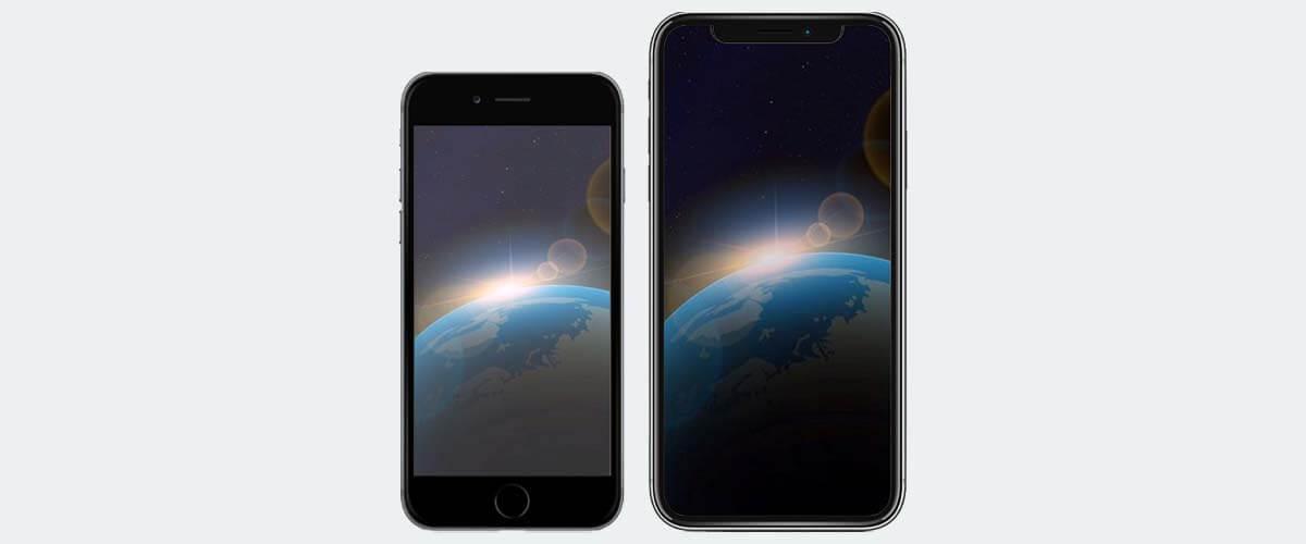Beeldscherm verschil iPhone 8 en X