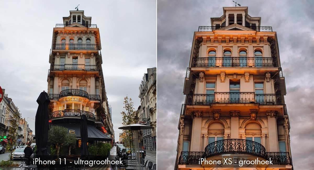 Verschil ultragroothoek camera iPhone XS en 11