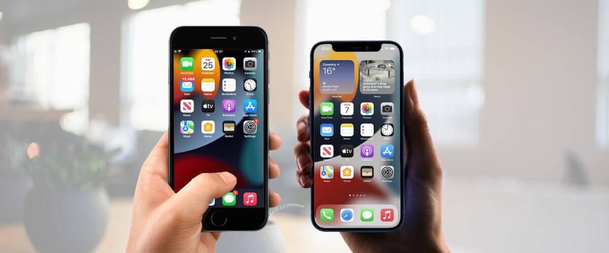 Formaatverschil iPhone SE 2020 vs iPhone 12 Mini
