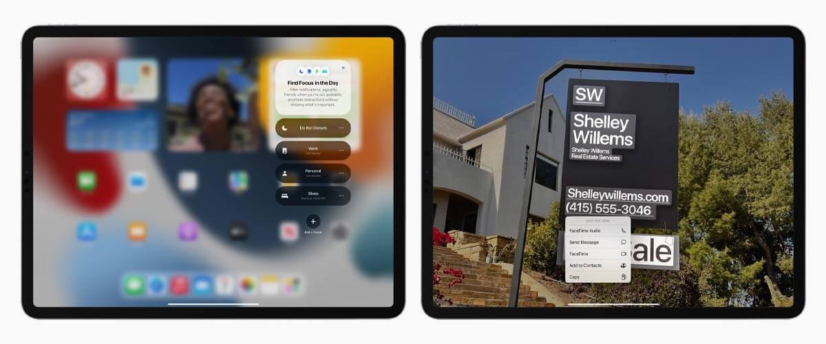 iPadOS 15 Focus en Livetekst