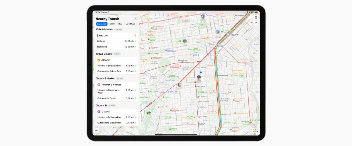 Kaarten-app iPadOS 15