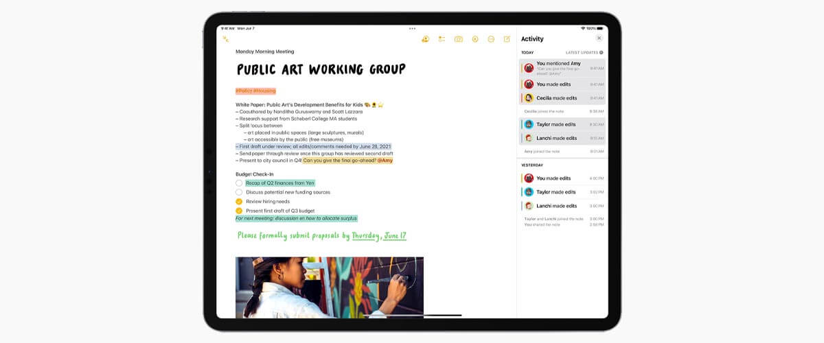 Notitie-app iPadOS 15