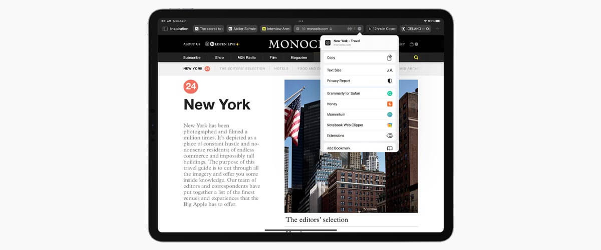 Safari-design iPadOS 15