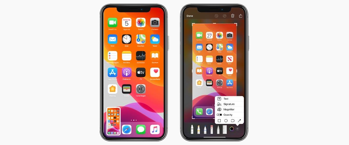 iPhone screenshot opslaan en bewerken