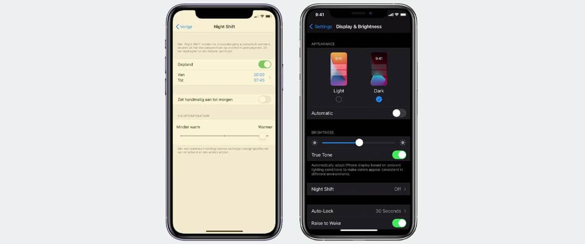 Night Shift en Dark Mode Apple iPhone