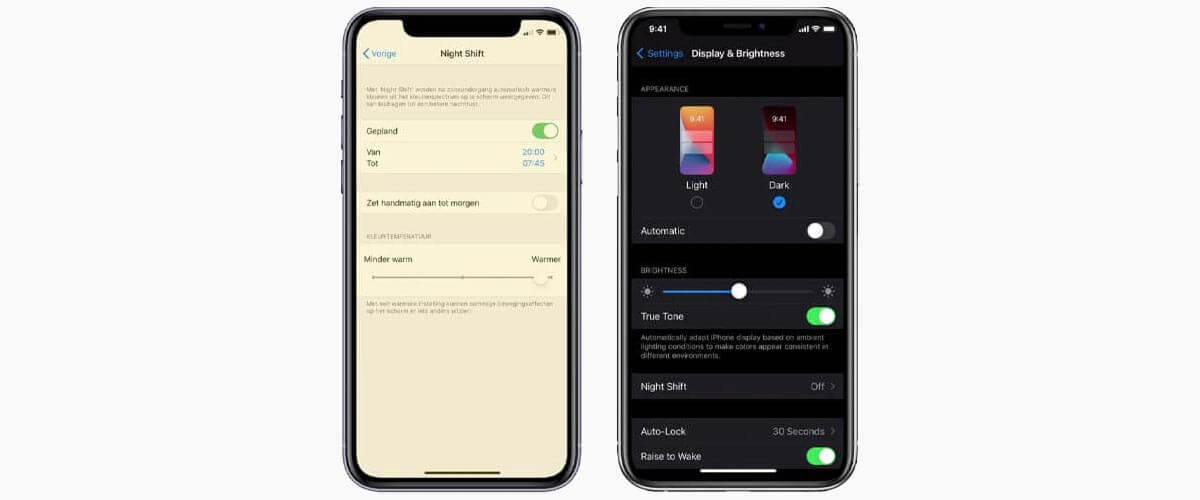 Night Shift en Dark Mode iPhone