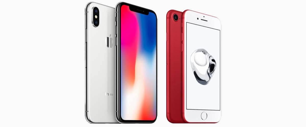 Uiterlijk verschil iPhone X vs iPhone 7