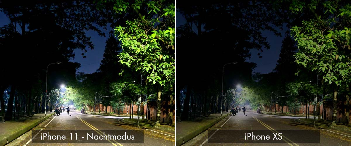 Nachtfoto camera verschil iPhone XS en 11