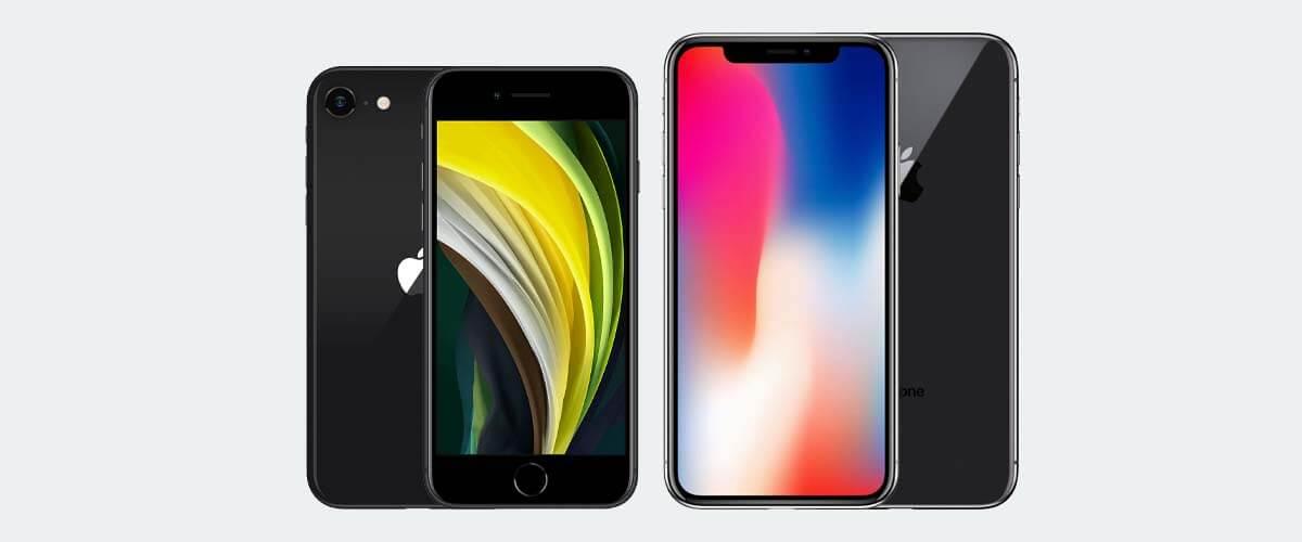 Uiterlijk verschil iPhone X en SE 2020