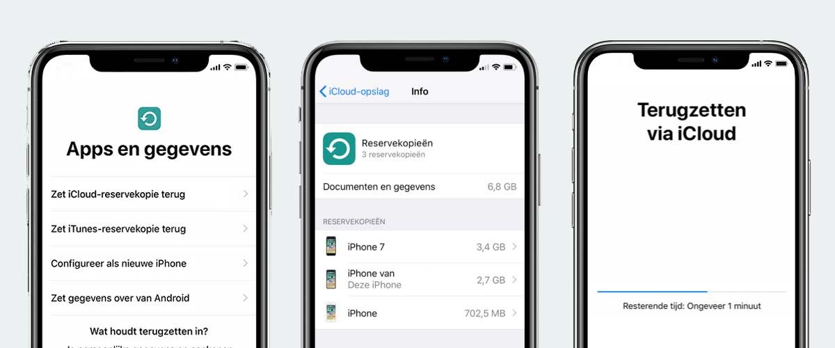 iCloud reservekopie terugzetten