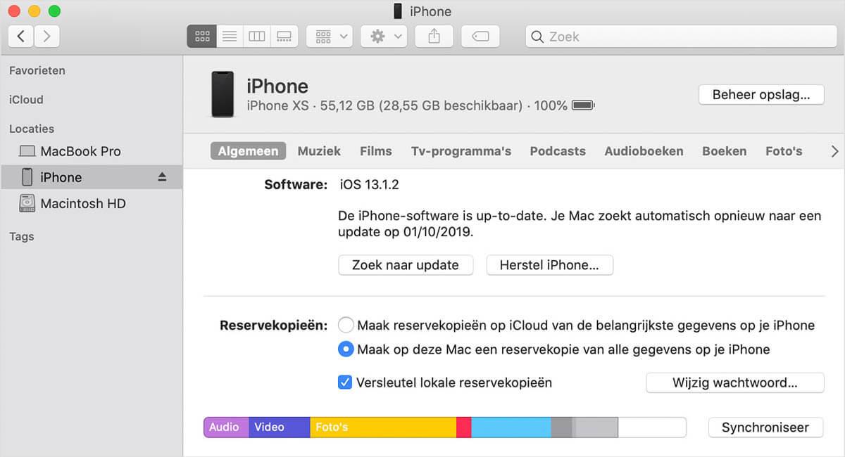 iTunes reservekopie maken
