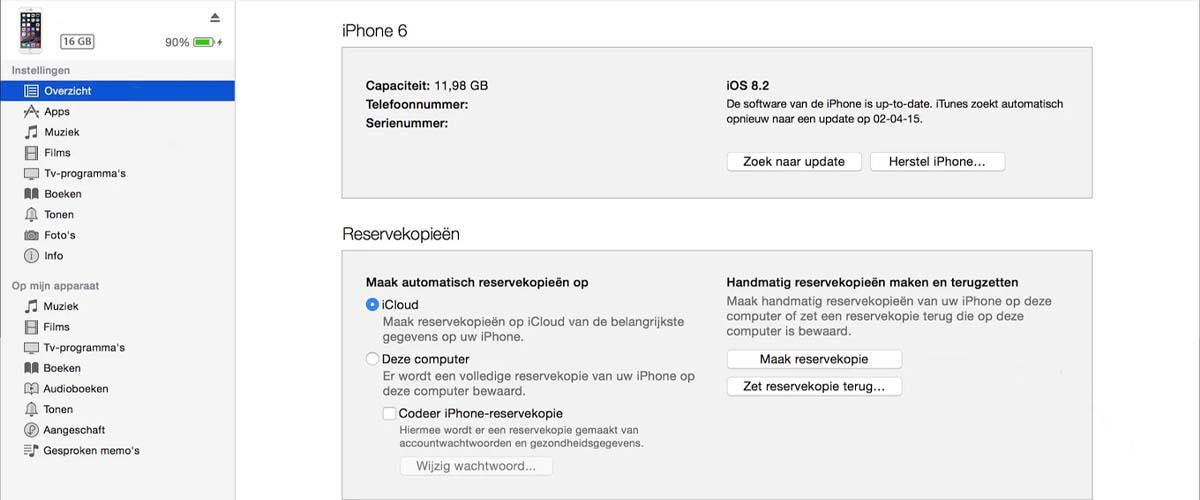 iTunes reservekopie terugzetten