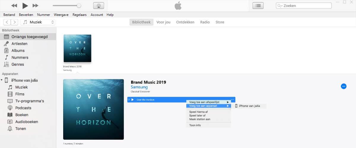 Muziek handmatig van iTunes op iPhone zetten
