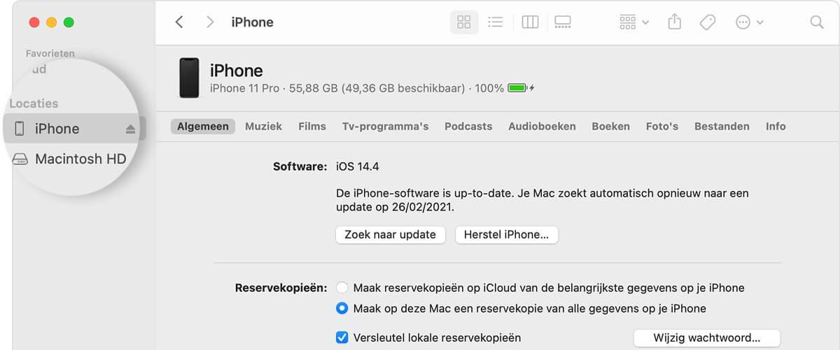 Zoek iPhone in iTunes