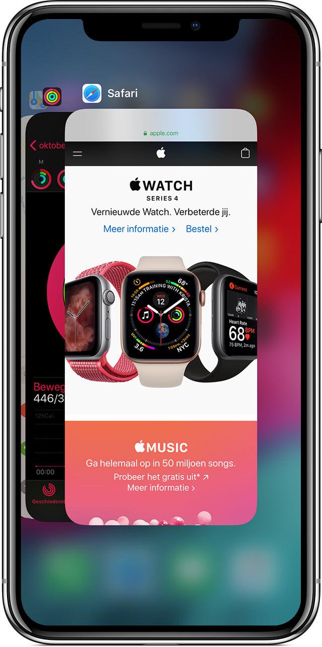 iPhone X wisselen tussen schermen