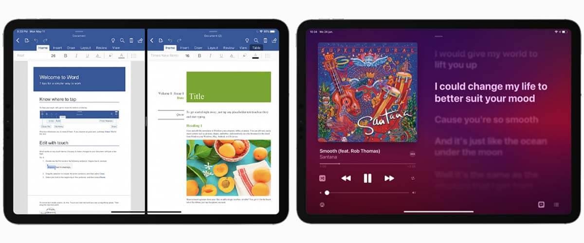 Split View en Muziek-app iPadOS 14